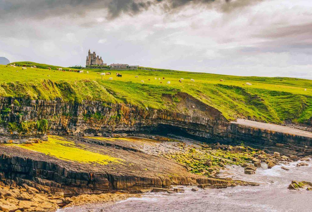 Cliffs, sea, and castle in Mullaghmore, Sligo